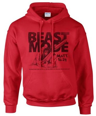 Beast Mode Hooded Sweatshirt, Red, XX-Large  -