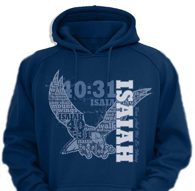 Fly Isaiah 40 Hooded Sweatshirt, Navy, X-Large  -
