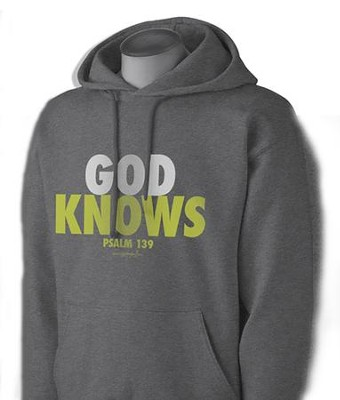 God Knows Hooded Sweatshirt, Gray, X-Large  -