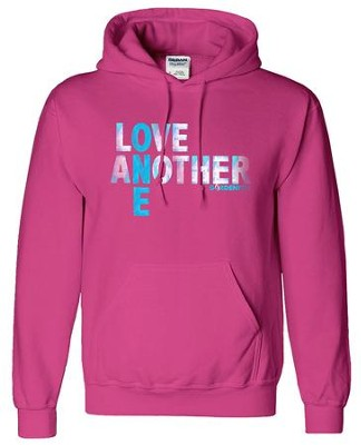 Love One Another Hooded Sweatshirt, Pink, Large  -