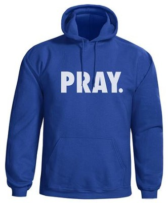 Pray Hooded Sweatshirt, Blue, Medium  -