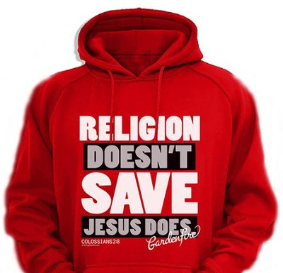 Jesus Saves Hooded Sweatshirt, Red, XX-Large  -