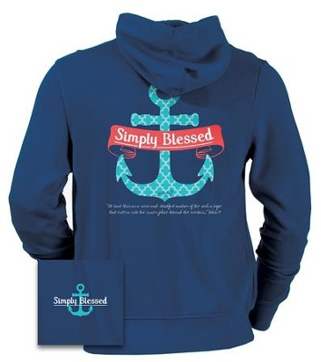 Anchor Hooded Sweatshirt, Navy, Large  -