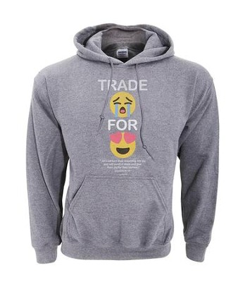Trade For Joy Hooded Sweatshirt, Gray, X-Large  -