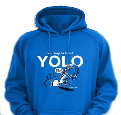 Yolo Hooded Sweatshirt, Blue, Small  -