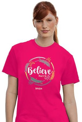 Believe Shirt, Pink, Large  -