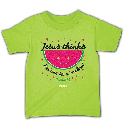 Jesus Thinks I'm One in a Melon Shirt, Lime Green, Toddler 5   -