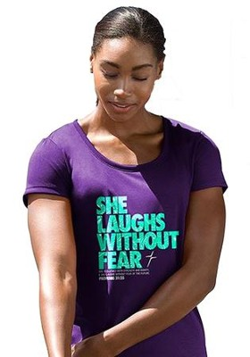 She Laughs Without Fear Shirt, Purple, Small  -