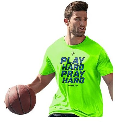 Play Hard, Pray Hard Shirt, Green, Large  -