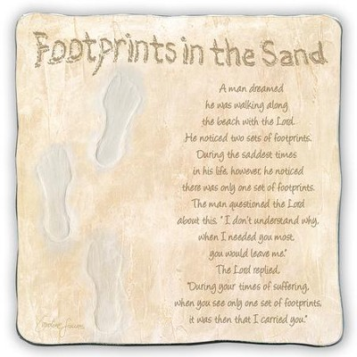 Footprints In the Sand Plaque  -     By: Caroline Simas