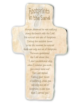 Footprints In the Sand, Cross Plaque  -     By: Caroline Simas