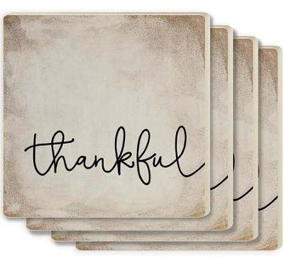 Thankful Coasters, Set of 4, White  -