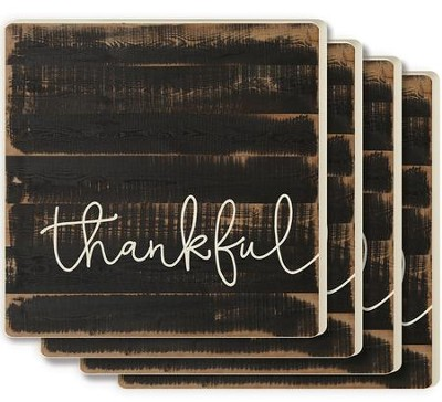 Thankful Coasters, Set of 4, Brown  -