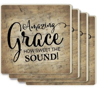 Amazing Grace, How Sweet the Sound Coasters, Set of 4  -