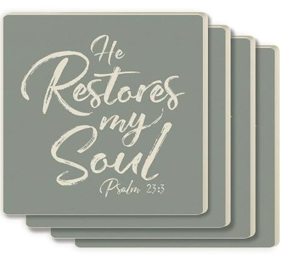 He Restores My Soul Coasters, Set of 4  -