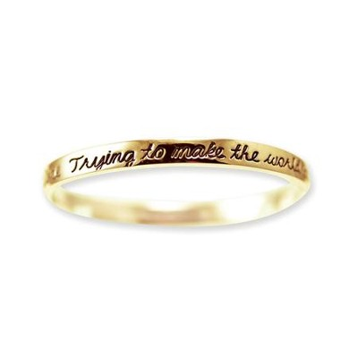 Make the World A Better Place Bangle Bracelet, Gold Plated  -