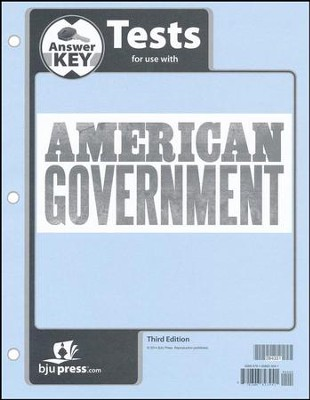 American Government Grade 12 Tests Answer Key (3rd Edition)  -