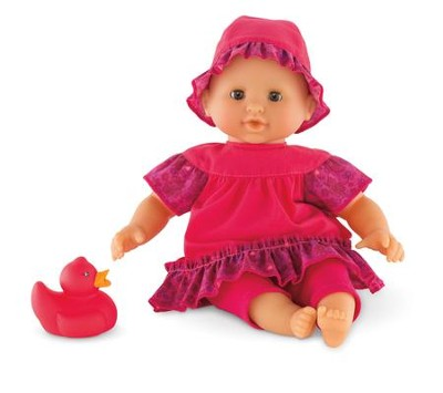 Mon Premier Bath, Baby Doll with Rubber Duck, Raspberry  -
