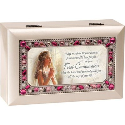 First Communion Jeweled Music Box, Girl  -