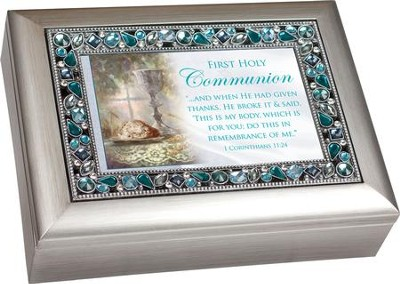 First Holy Communion, Jeweled Music Box, Silver and Blue  -