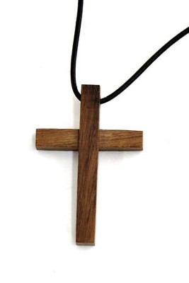 Block Wood Cross Pendant  -
