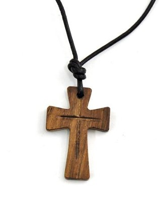 Recessed Wood Cross Pendant  -