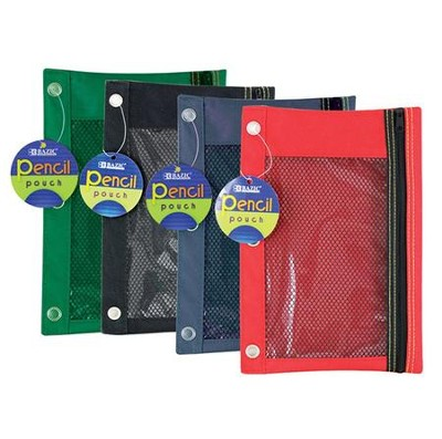 3-Ring Pencil Case with Mesh Window    -