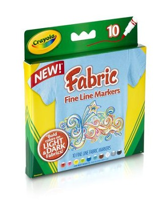 Crayola, Fine Line Fabric Markers, 10 Pieces  -