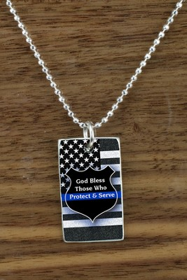 God Bless Those Who Protect & Serve Pendant  -
