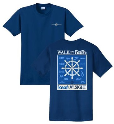 Walk By Faith, Knot By Sight Shirt, Navy, XX-Large  -