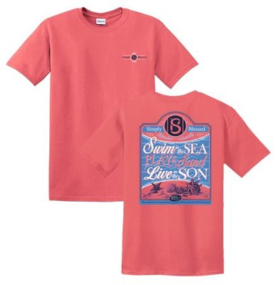 Swim In the Sea Shirt, Coral, Large  -