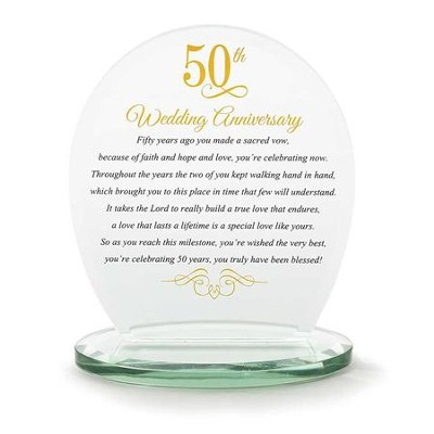 50th Wedding Anniversary, Glass Inspiration Plaque  -