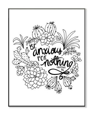 Be Anxious For Nothing, Coloring Wall Art, Large  -