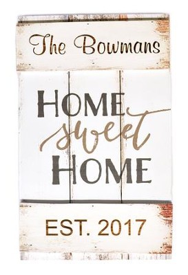 Personalized, Wooden Barn Door Sign, Home Sweet Home, White  -