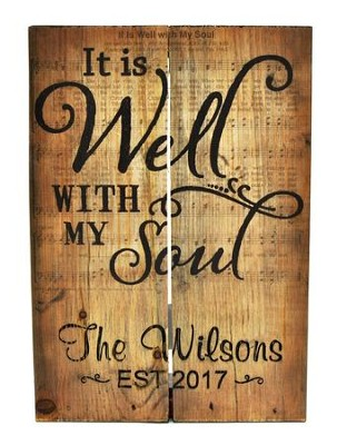 personalized wooden box pallet sign it is well with my soul