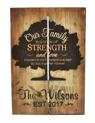 Personalized, Wooden Box Pallet Sign, Our Family of   Strength and Love  -