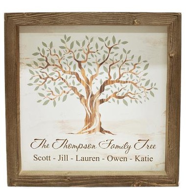Personalized, Framed Wood Art, with Tree, White   -