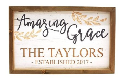 Personalized, Framed Wood Art, Amazing Grace,with Vines White  -