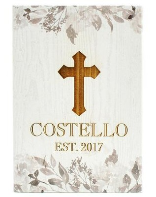Personalized, Wooden Barnhouse Block, with Vines and   Cross, Small, White  -