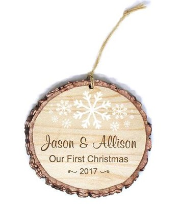 Personalized, Barky Ornament, with Snowflakes, Our  First Christmas  -