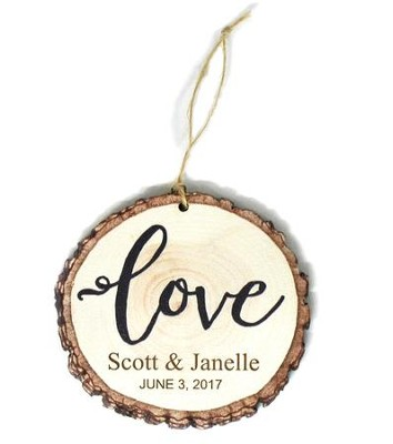 Personalized, Barky Ornament, Love, Name and Date   -