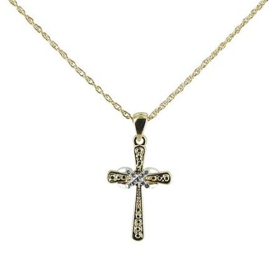 Cross with Infinity Necklace, Two-Tone  -