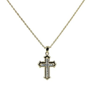 Pointed Cross Necklace with Rhinestones, Two-Tone  -
