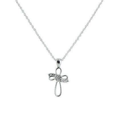 Open Cross With Stones Necklace, Silver  -