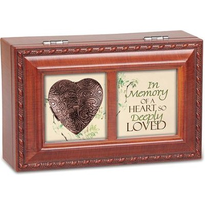 Petite Wood Grain Music Box with Copper Locket, In Memory of a Heart  -