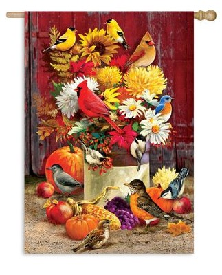 Autumn Songbirds, Large Flag  -