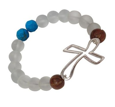 Sideways Open Cross Beaded Stretch Bracelet  -
