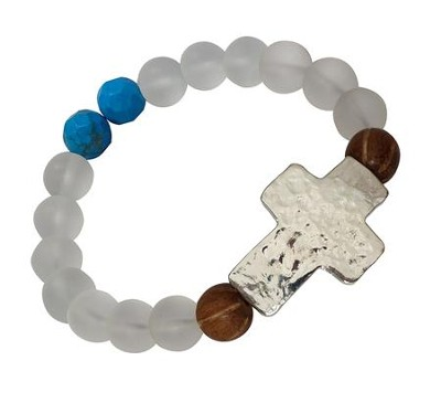 Sideways Hammered Cross Beaded Stretch Bracelet  -