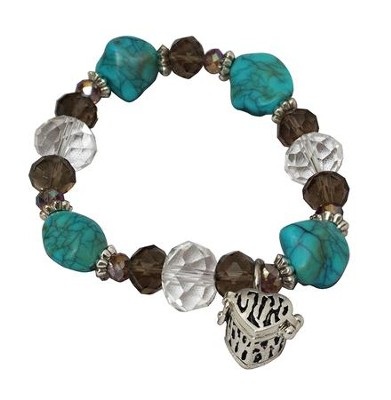 Turquoise Beaded Stretch Bracelet with Heart Shaped Prayer Locket  -