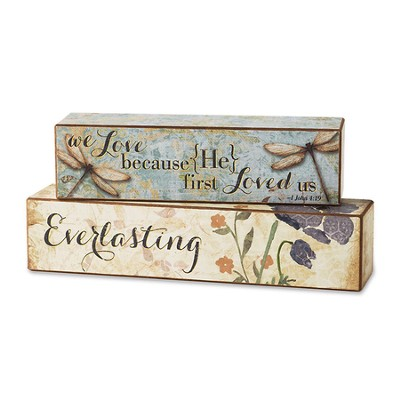 Love Scripture Blocks, Set of 2  -     By: Christine Adolph